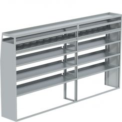 """Transit Tapered Shelving Unit, Pipe Tray, 18""""D x 69""""H x 127""""L (#360190)"""