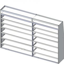 """Transit Tapered Shelving Unit, Pipe Tray, 18""""D x 71"""" x 117"""", Tall Edition (#360192)"""