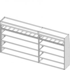 "Sprinter Tapered Shelving Unit, Pipe Tray, 18""D x 59""H x 117""L (#360299)"