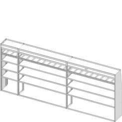 "Sprinter Tapered Shelving Unit, Pipe Tray, 18""D x 69""H x 163""L (#360312)"