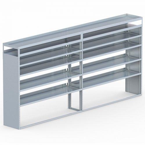 "Cube Shelving Unit, Pipe Tray, 18""D x 70""H x 139""L (#360068)"