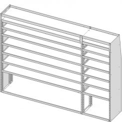 "Sprinter Tapered Shelving Unit, Pipe Tray, 18""D x 69""H x 94""L (#360136)"
