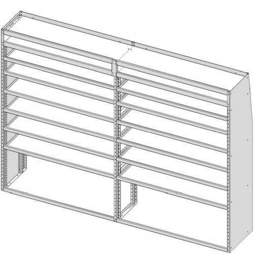 "Sprinter Tapered Shelving Unit, Pipe Tray, 18""D x 69""H x 95""L (#360137)"