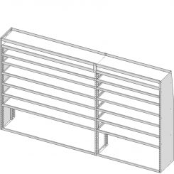 """Sprinter Tapered Shelving Unit, Pipe Tray, 18""""D x 69""""H x 117""""L (#360138)"""