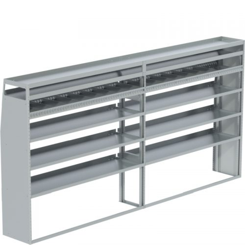 """ProMaster Tapered Shelving Unit, Pipe Tray, 18""""D x 69""""H x 139""""L (#360150)"""