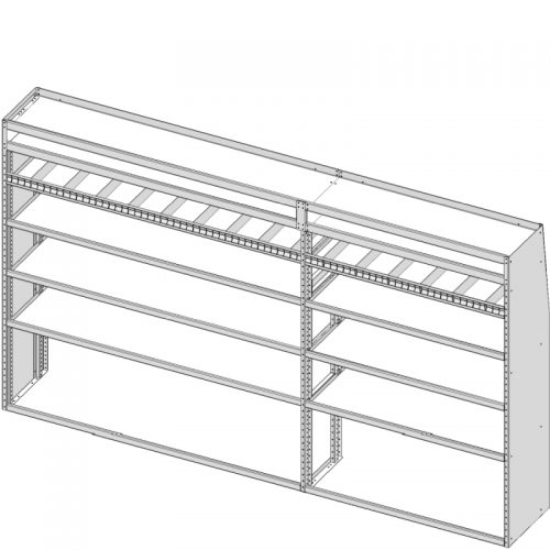 """ProMaster Tapered Shelving Unit, Pipe Tray, 18""""D x 69""""H x 117""""L (#360158)"""