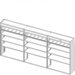 "Sprinter Tapered Shelving Unit, Pipe Tray, 18""D x 69""H x 142""L (#360311)"