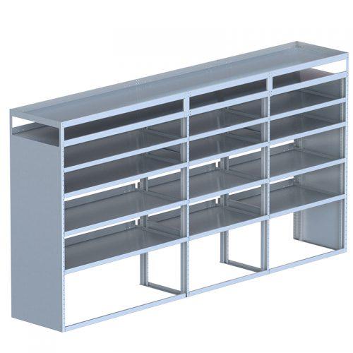 "Cube Shelving Unit, Pipe Tray, 23""D x 66""H x 127""L (#360083)"