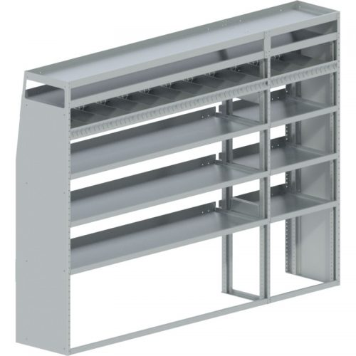 """Transit Tapered Shelving Unit, Pipe Tray, 18""""D x 65""""H x 94""""L (#360181)"""
