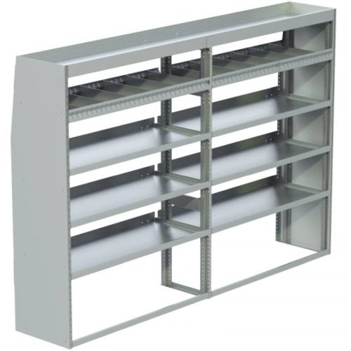 "Transit Tapered Shelving Unit, Pipe Tray, 18""D x 65""H x 95""L (#360182)"