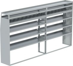 "Transit Tapered Shelving Unit, Pipe Tray, 18""D x 65""H x 117""L (#360183)"