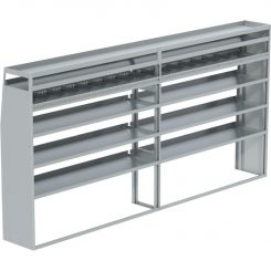 """Transit Tapered Shelving Unit, Pipe Tray, 18""""D x 65""""H x 139""""L (#360185)"""