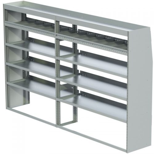 "ProMaster Tapered Shelving Unit, Pipe Tray, 18""D x 61""H x 105""L, 4 Reversible Shelves (#360205-R)"