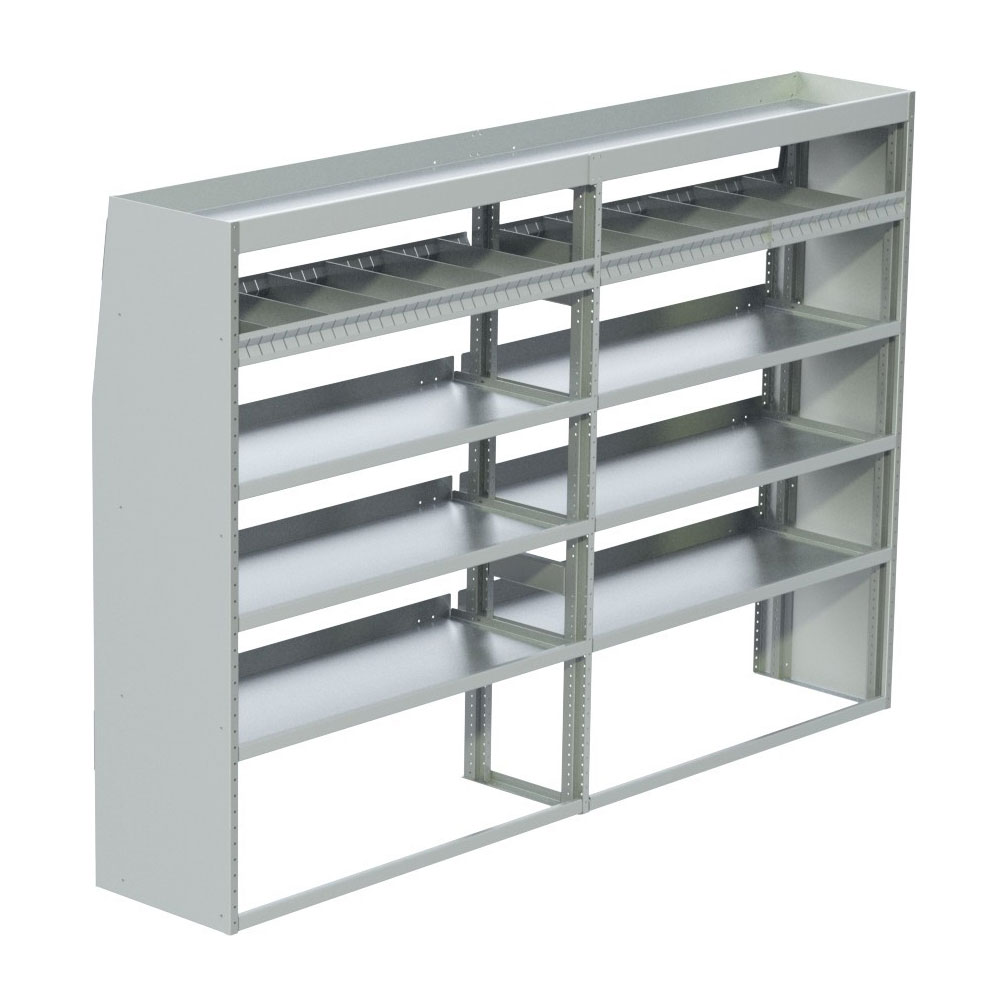 """ProMaster Low RoofTapered Shelving Unit, Pipe Tray18""""D x 61""""H x 105""""LSKU: 360205"""